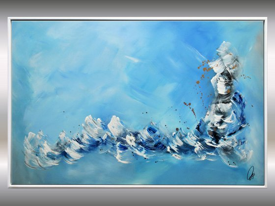 Flying Fishes  - Abstract Art - Acrylic Painting - Canvas Art - Framed Painting - Abstract Sea Painting - Ready to Hang