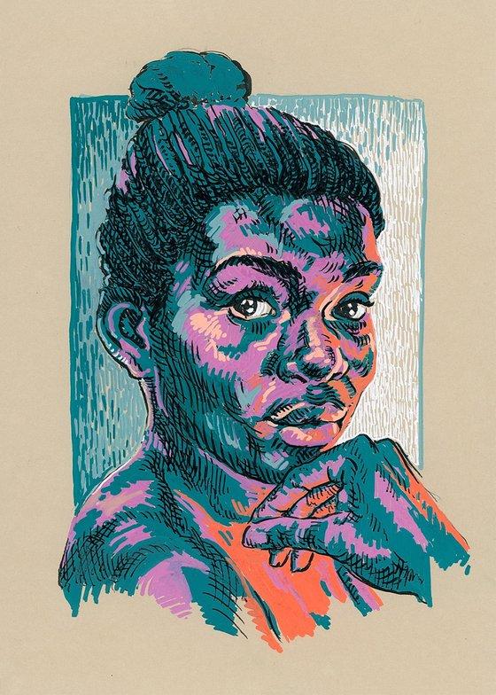 Woman portrait. Bold contemporary portrait.