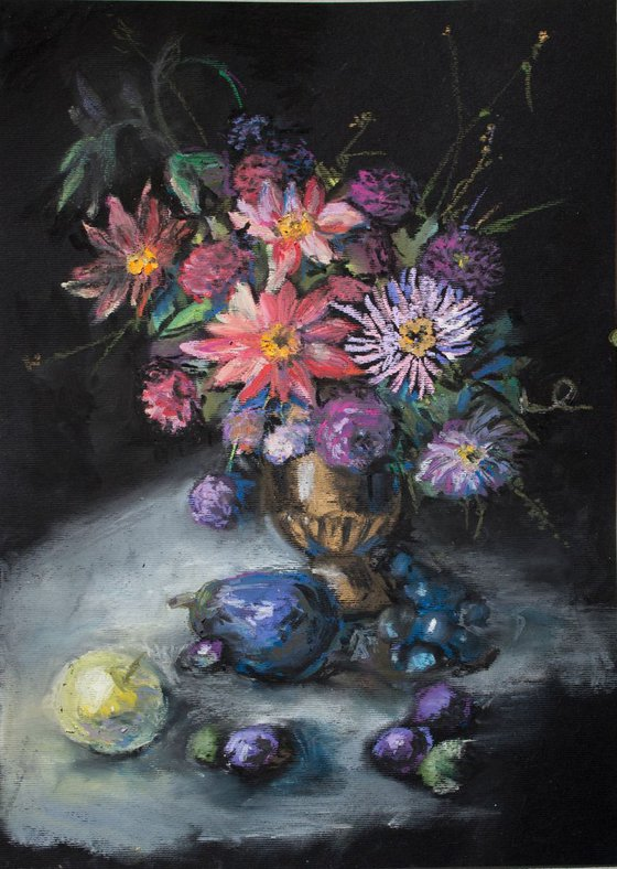 Autumn flowers, fruits and aubergine.