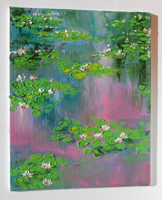 Monet's garden - Oil painting on canvas board- impressionistic impasto - nymphaea series - lily pond painting - palette knife