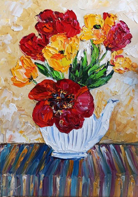 Tulips in teapot still life