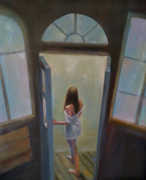 At the window (40x50cm, oil canvas, ready to hang)