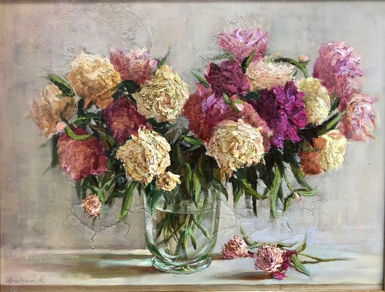 """""""A bouquet of peonies in a glass vase"""""""