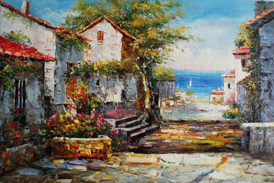 """Santorini"". Canvas, oil. Size 90x60 cm"