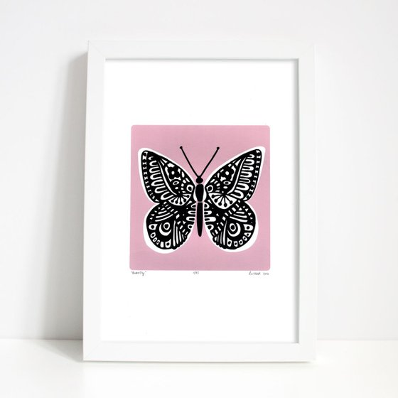 Butterfly in Powder Pink - Framed - FREE UK Delivery