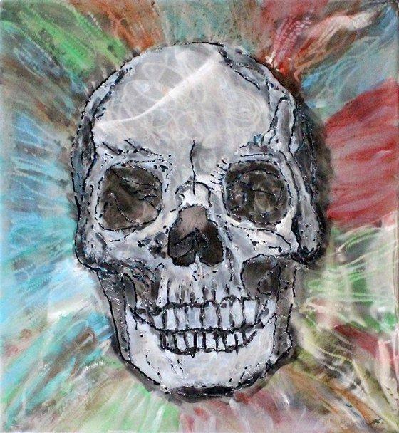 Vanity painting - skull - Wall sculpture steel panel and inks