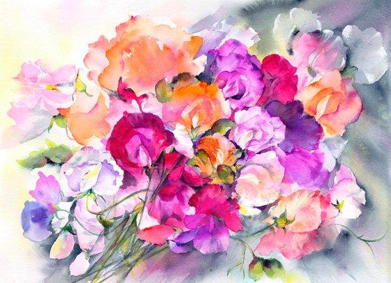 Sweetpea, Floral Art, Original Watercolour painting, colour explosion, vibrant watercolor