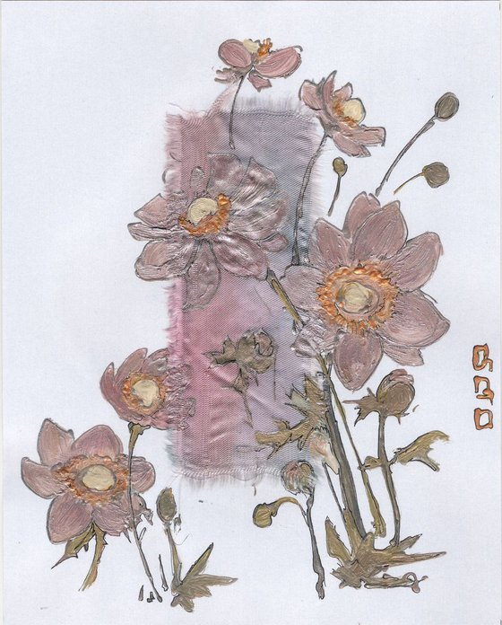 Pastel pink anemones on pearly white paper