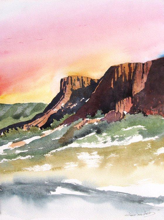Desert Cliffs - Original Watercolor Painting