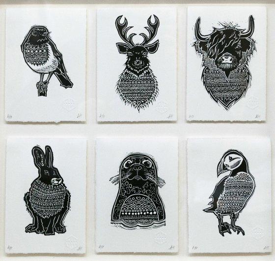 6 Animal Lino Prints