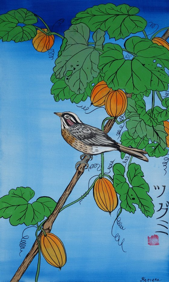 catbird branch Japan Hieroglyph original artwork in japanese style J105 ready to hang painting acrylic on stretched canvas wall art