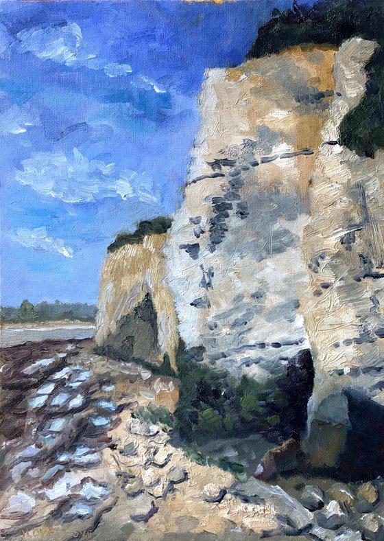 Cliffs at Pegwell Bay Kent An original oil painting