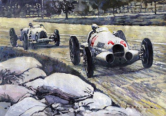 1937 Rudolf Caracciola winning Swiss GP W 125