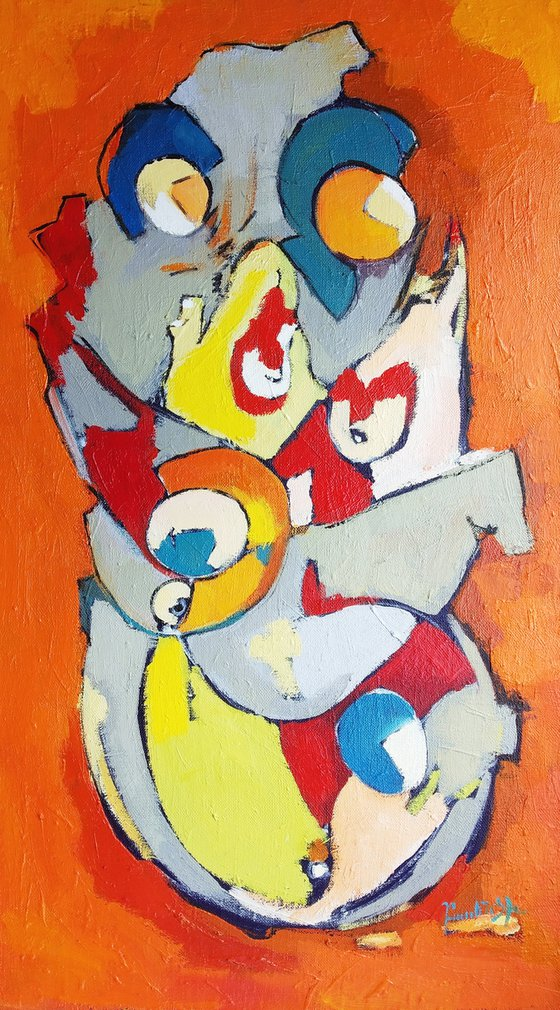 Abstract - Family(70x40cm, oil painting, ready to hang)