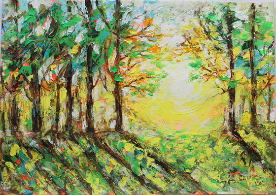 The Glory Deep in the Woods- Palette Knife Acrylic Painting - impressionistic - landscape painting on paper - gift art - home decor