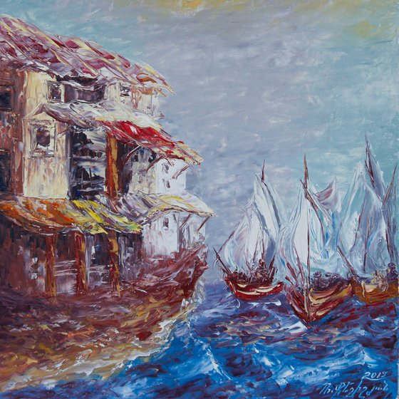 Boats (40x40, oil painting, ready to hang)