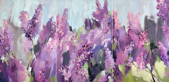 Lilac. Tryptych Floral. Original oil painting