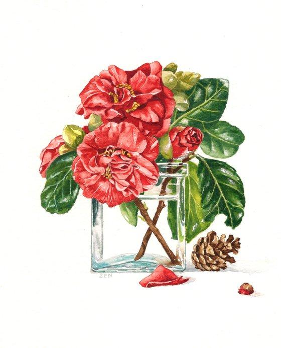 Camellias and Fir Cone
