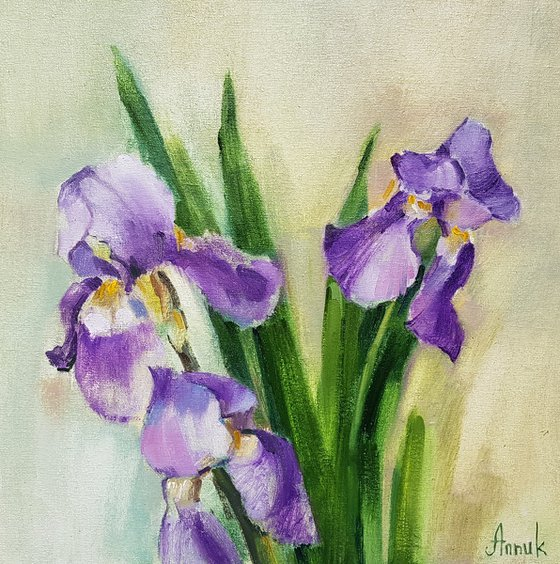 Irises (35x35cm, oil painting, ready to hang)