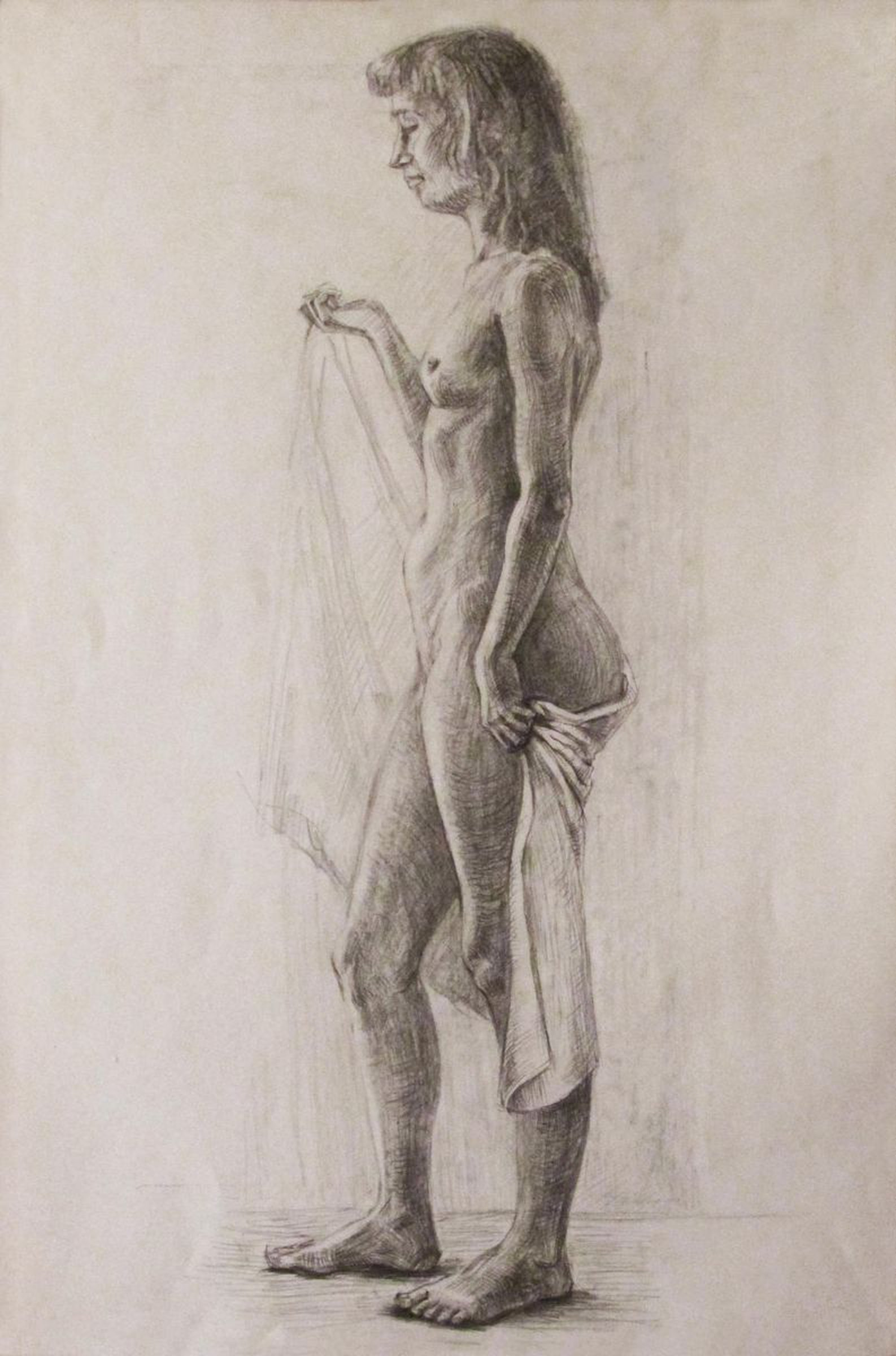 Nude female model 2017 pencil drawing