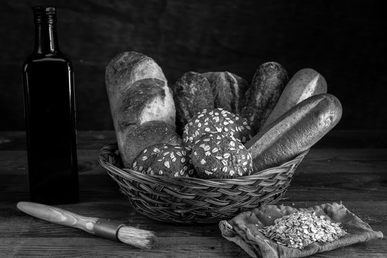 Basket of assorted breads.