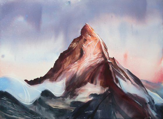 Mountains in the rays of the setting sun. 75*55 cm. Watercolor landscape.