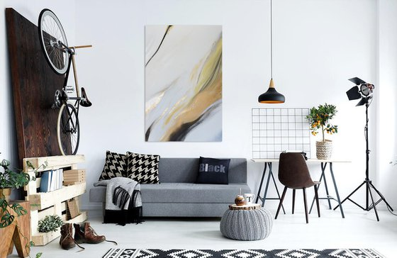 Large abstract modern art Black, white, silver and gold