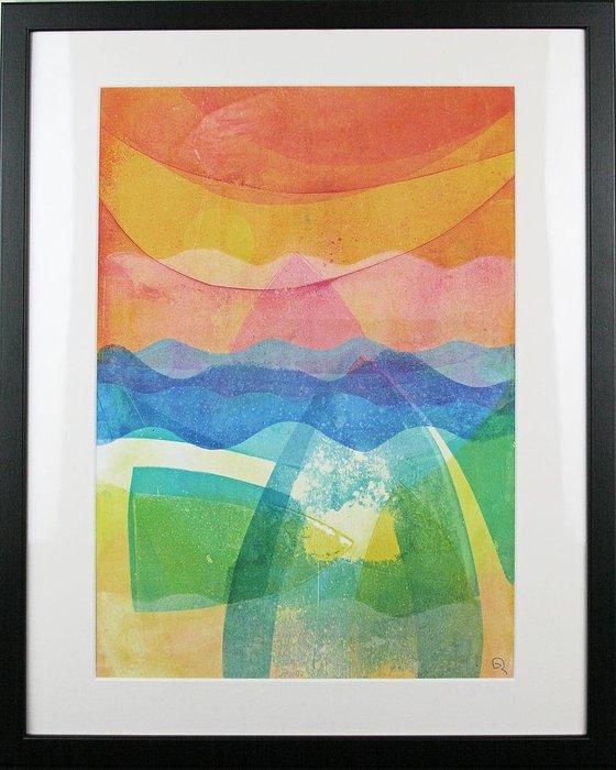 "Riding Blue Waves - Framed 50cm (20"") x 40 cm (16"") Original Signed Monotype"