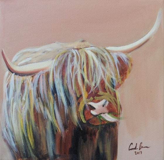 Highland cow art made in Scotland
