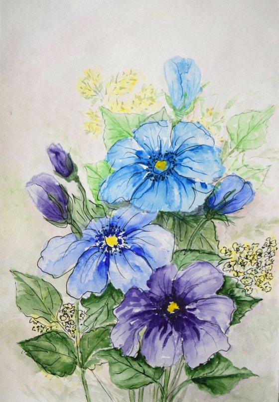 """Watercolour Flower's composition #15"" 41 х 29.5 (A3 size)"