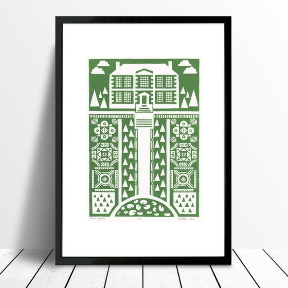 Manor Garden Print A3 Size in Heritage Green - Framed - FREE UK Delivery