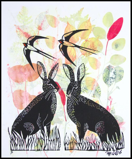 Hares and Swallows, monoprint linocut