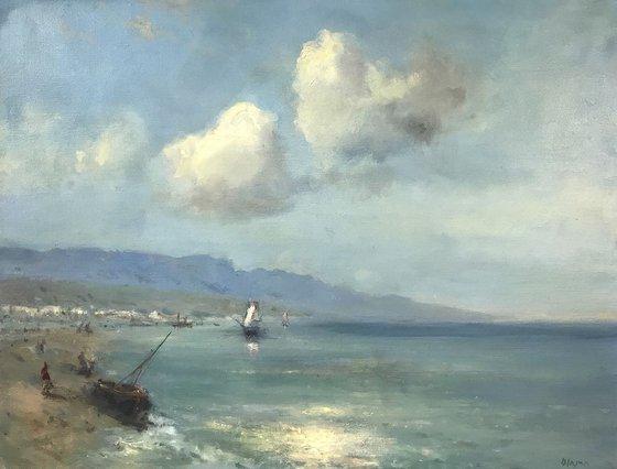 Seashore, Original oil Painting, Handmade artwork, Museum Quality, Signed, One of a Kind