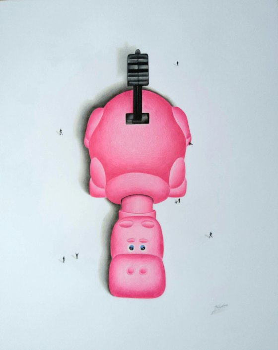 Hippo a pencil drawing (Pink)