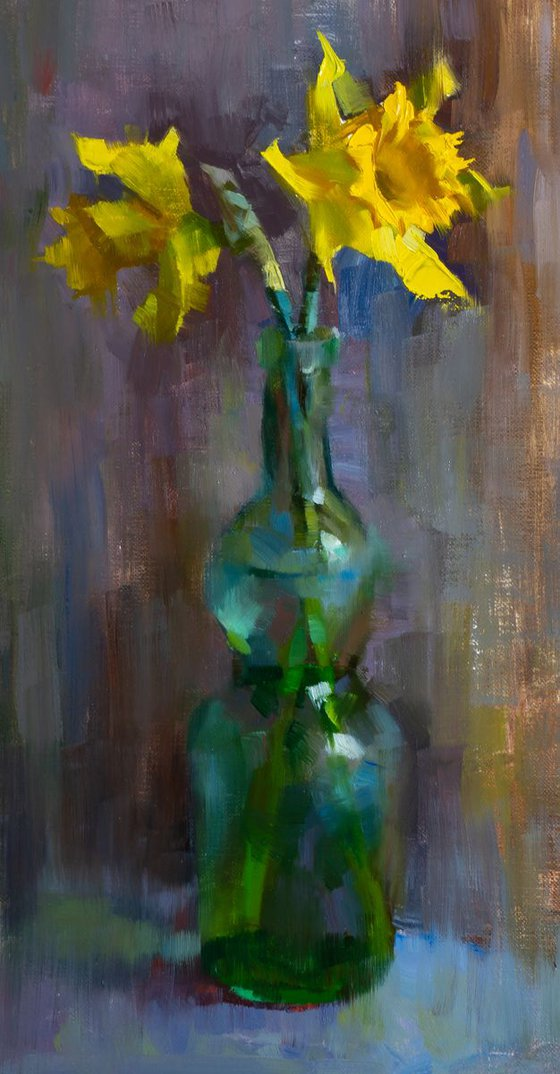 'Daffodils in a bottle' - original oil painting, alla prima oil painting, one of a kind