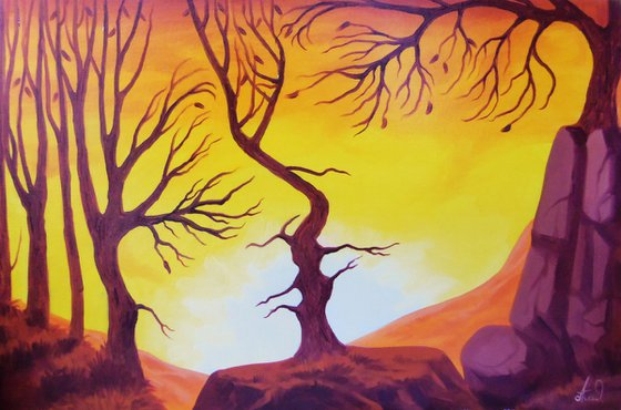 The kiss of nature 60x40cm, oil painting, surrealistic artwork