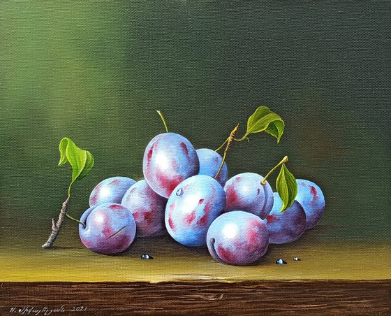 Still life with plums (24x30cm, oil painting, ready to hang)