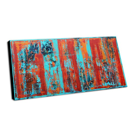 COLOR FUSION - ABSTRACT ACRYLIC PAINTING ON CANVAS * LARGE FORMAT * TURQUOISE * RED