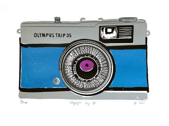 OLYMPUS TRIP 35 [BLUE] - Limited-edition, vintage camera screenprint