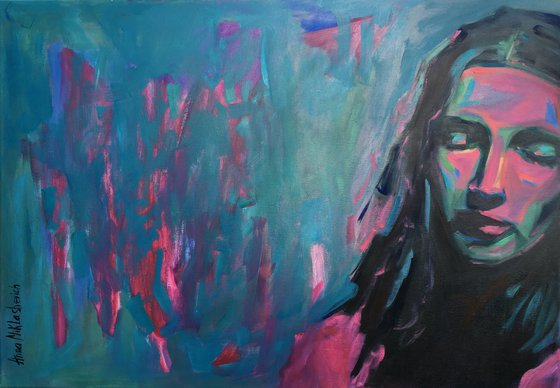 INTEGRATED - Extra large woman portrait wall art Modern expressionist turquoise female portrait Colorful original figure teal pink painting