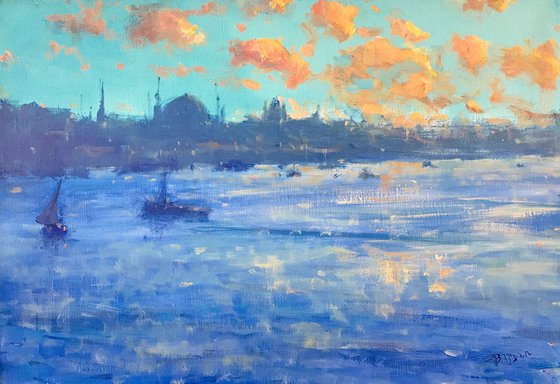 Istanbul, Original oil Painting, Handmade artwork, Museum Quality, Signed, One of a Kind