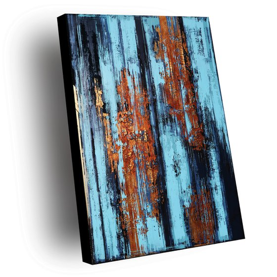 COOL WATER ** ACRYLIC PAINTING ** DARK BLUE ** COPPER ** ABSTRACT ART