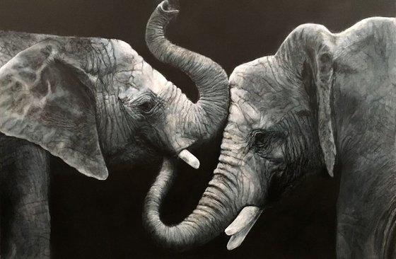 Elephants, blue grey large artwork
