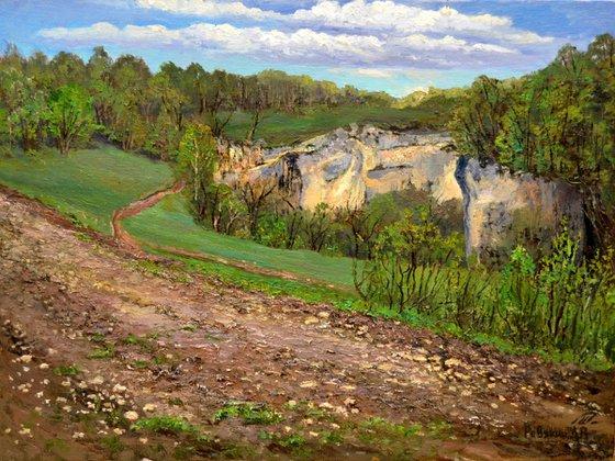 Original oil painting mountain canyon
