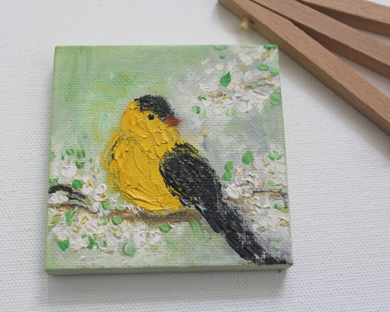 Goldfinch - bird art - oil painting on canvas - palette knife - impressionistic - gift art