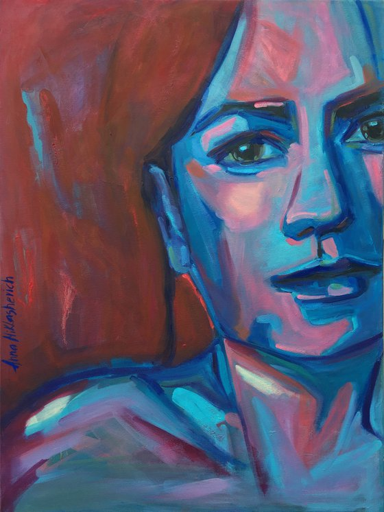 RELENTLESS - contemporary extra large woman portrait, modern expressionist female wall art, face huge artwork oil painting