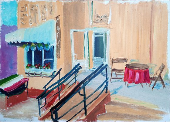 Small cafe in the yellow house. Plein Air Painting