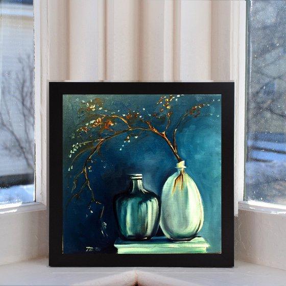 Blue wall - original oil on canvas linen board 30 x 30 cm (12 ' x 12' )