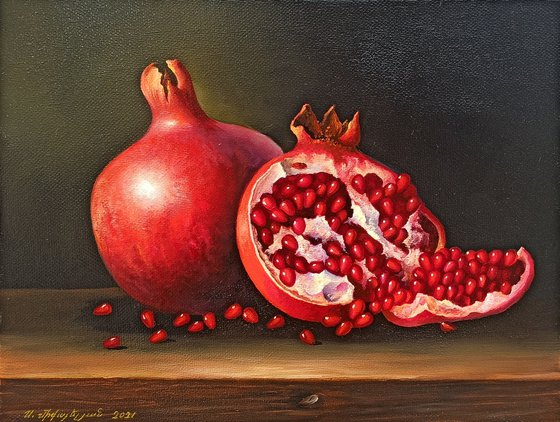 Still life with pomegranate (24x30cm, oil painting, ready to hang)