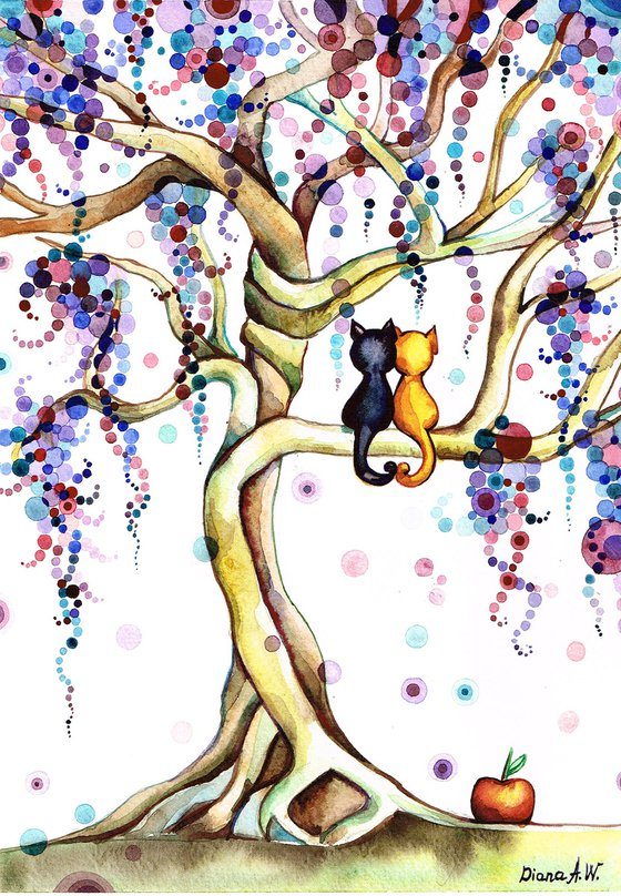 BLACK CAT GINGER CAT, ORIGINAL ART, CATS IN LOVE UNDER THE MULTI COLOUR Purple entwined twisted TREES, ORIGINAL WATERCOLOUR PAINTING, ROMANTIC AND COLOURFUL PAINTING, ANIMALS